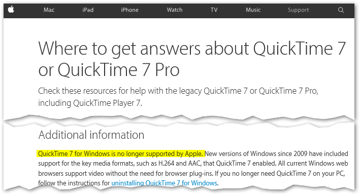 The closest thing you can expect to an end-of-life statement from Apple on QuickTime for Windows